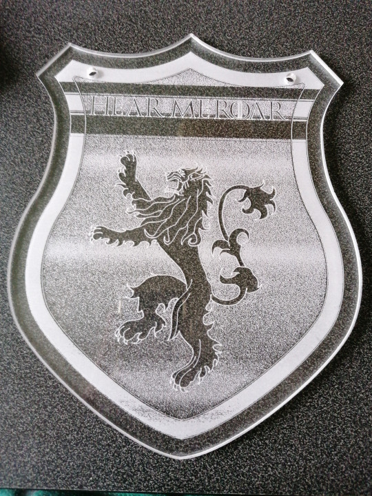Image article Gravure laser blason lannister game of thrones